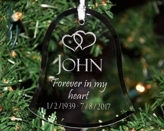 Custom Bell Christmas Ornament, Personalized Engraved Memorial Glass Holiday Ornament, Remembrance Memory Suncatcher - ORN21
