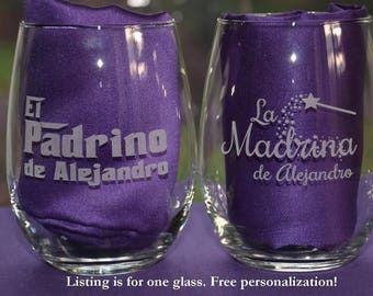 Custom Engraved Godparent Glass, Regalos de Bautismo, La Madrina/El Padrino Present, Will You Be My Godparent Christening Gifts