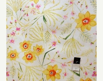 ON SALE Dena Designs LIDF003 Sunshine Jasmine White Linen Fabric 1 Yd