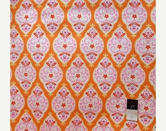 ON SALE Dena Designs LIDF004 Sunshine Medallion Orange Linen Fabric 1 Yd