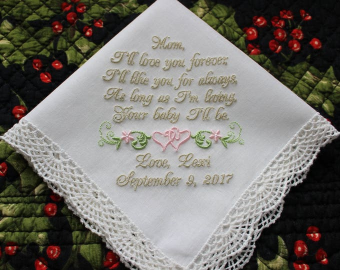 Mother of the Bride Gift, Wedding Handkerchief from Bride to Mother, Mother of the Groom Gift from Groom, Embroidered Handkerchiefs, Hankies