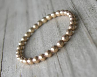 Yellow Gold Fill Beaded Ring Skinny Ring Stacking Ring MADE to ORDER