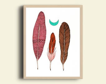 Feathers and moon art print
