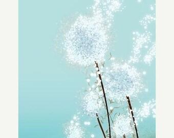 50% Off Summer Sale - Dandelion Art - Perennial Moment (aqua) - 8x10 Print - Light Blue