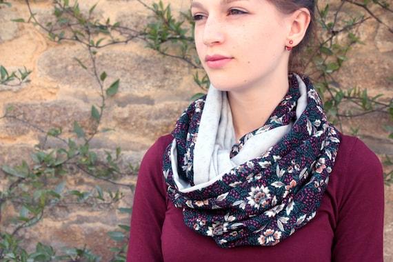 Etole-Châle, Foulard en Coton Fleurs Baroque Bordeaux-Vert-noir-Gris . Cache épaule