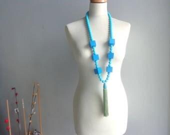 Blue necklace, Blue long statement necklace, cube necklace, tassel necklace