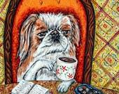 20 % off storewide japanese chin coffee dog animal art tile coaster  JSCHMETZ modern abstract folk pop art AMERICAN ART gift
