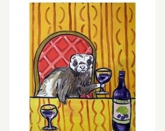 20 % off storewide Ferret at the Wine Bar Art Print