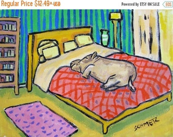 20% off storewide Hippo sleeping Hippopotamus signed art print animals impressionism gift new bedroom art