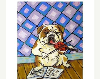 20% off storewide Bulldog - modern dog art PRINT,  violin fiddle