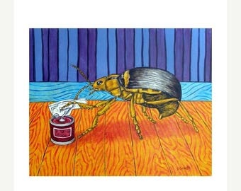 20% off storewide Beetle Opening a Can of Bug Food Insect Art Print