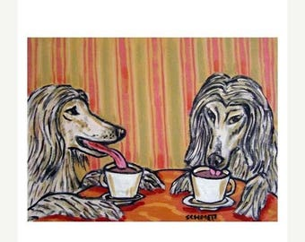20% off storewide Afghan Hounds at the Coffee Shop Dog Art Print
