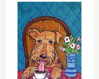 20% off storewide Airedale Terrier at the Coffee Shop Dog art Print  JSCHMETZ modern abstract FOLK pop art american ART