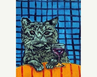 20% off Black Cat at the Wine Bar Animal Art Print