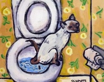 20% off Siamese in the bathroom Cat Art Tile Coaster Gift
