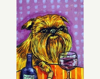 Brussels Griffon at the Wine Bar Dog Art Print