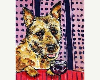 Belgian Shepherd at the Wine Bar Dog Art Print  JSCHMETZ modern abstract folk pop art AMERICAN ART gift