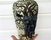 Reserved for Gill Surly Tree Awakens via Raven Sculpted with Polymer Clay onto a Recycled Glass Vase