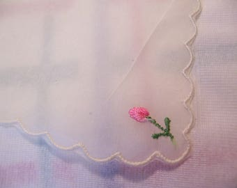 tiny rose bud and flowers hanky