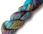 SALE Hand Dyed Yarn Silk Merino 50/50 Silky Fingering Yarn - Landscape 435 yards