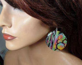 Polymer clay earrings, rainbow colors