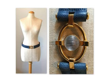 Vintage 80s Lalique Belt 30 32 Blue Leather with Glass Orb Buckle