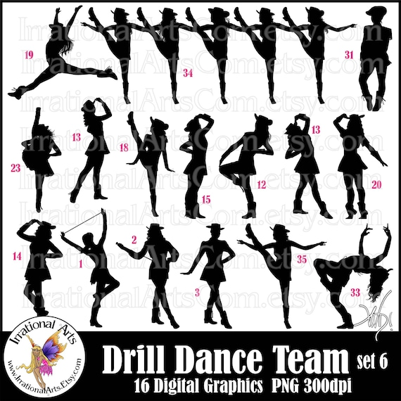 drill dance team silhouettes set 6 12 png digital graphics