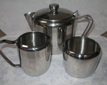 Vintage Stainless Steel Coffee/Tea Pot with Cream and Sugar Servers