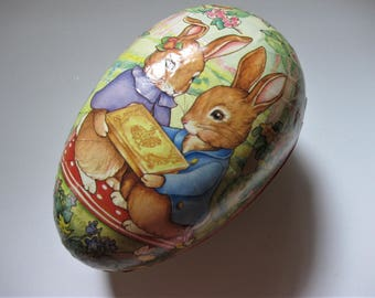 Vintage Paper Mache, Western Germany Easter Egg with Scalloped Paper Edging, Easter Bunnies