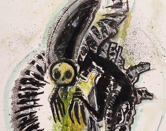 Urbnpop- original drawing of a xenamorph from Aliens