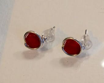 Red Coral Stud Earrings, Argentium Sterling Silver Wire posts, hypoallergenic backs