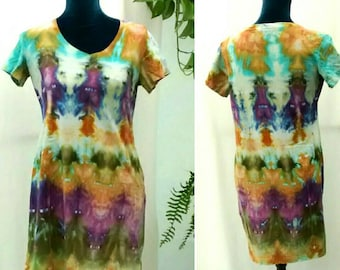 Ice Dyed Tunic Tee Dress in Purple Gold Mossy Green size S/M Cotton Jersey