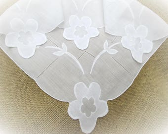 "Vintage White Handkerchief Hand Embroidered Floral Applique 16"" Wedding Hankie Bridal Party Shower Hanky Gift for Her"