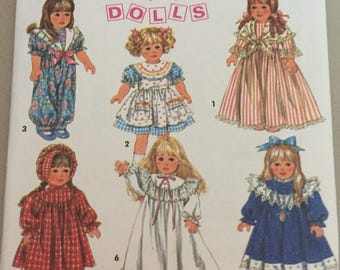 "Simplicity 8992 18"" doll clothes Pattern - dress bloomers leggings pajamas pinafore  vintage Bonnet romper"