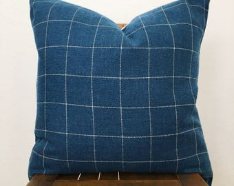 "Henrick blue windowpane woven 20"" pillow cover"