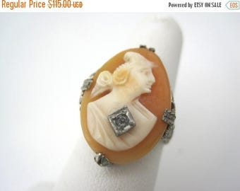 OnSale Cameo Ring - Carved Shell Woman with Necklace - Sterling Silver Filigree