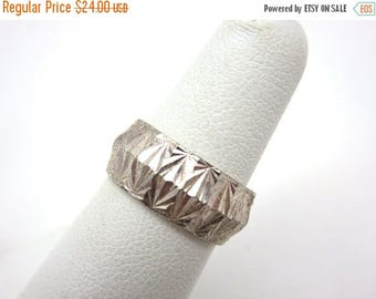 OnSale Sterling Etched Ring - Silver Wedding Band Art Deco