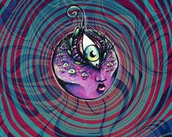 The Seer Magenta Goddess Head original acrylic painting