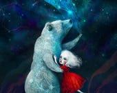 SALE 50% OFF Star Bear 8x10 Print -- Bear art spirit animal night constellation spiritual art kids decor childrens painting -- hopi bear by