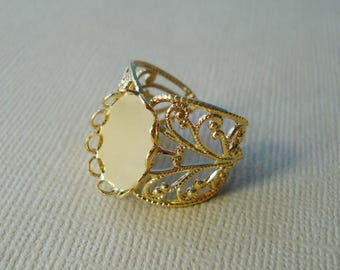 3 Vintage Gold Plated Filigree Rings with 14x10mm Oval Flat Back Scalloped Lace Edge Settings