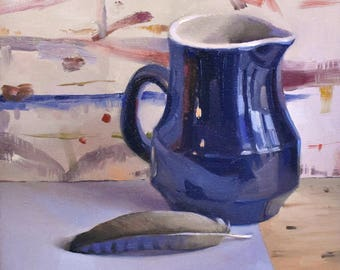 """Art oil painting still life by Sarah Sedwick """"The Blue Jay Feather"""" 10x10 inches"""