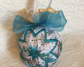 Quilted Star Christmas Ornament - Winter Snowflake Ornament - Hostess Gift, Teacher Gift,  Stocking Stuffer, Hostess Gift, Secret Santa