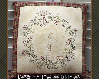 Tis The Season Wreath-Primitive Stitchery  E-PATTERN by Primitive Stitches-Instant Download