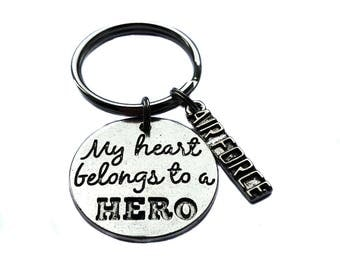 "Custom ""My Heart Belongs To A Hero"" Navy, Army, Air Force, Marines Antique Silver Charm, Keychain, Key Chain, Bag Charm Military Wife Gift"