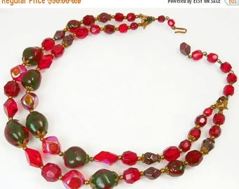 Vintage Double Strand Red Art Glass Bead Necklace 1950s Jewelry