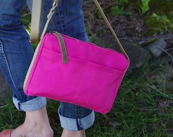 Hot Pink Water Repellent Canvas Crossbody Zipper Bag