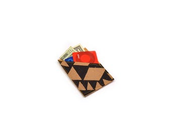 mini wallet • black and brown geometric wallet - small credit card wallet • leather blend wallet - triangle print - business card holder