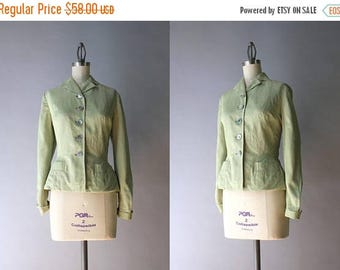 STOREWIDE SALE 1950s Jacket / Vintage 50s Pale Sage Handmacher Suit Jacket / 50s Hourglass Jacket S small