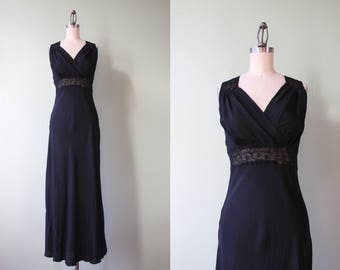 1940s Negligee / Vintage 40s Black Rayon Maxi Nightgown / Sheer Lace Cutout Bias Cut 1930s 1940s Negligee S small