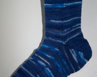Handknitted Unisex Socks in Shades of Blue